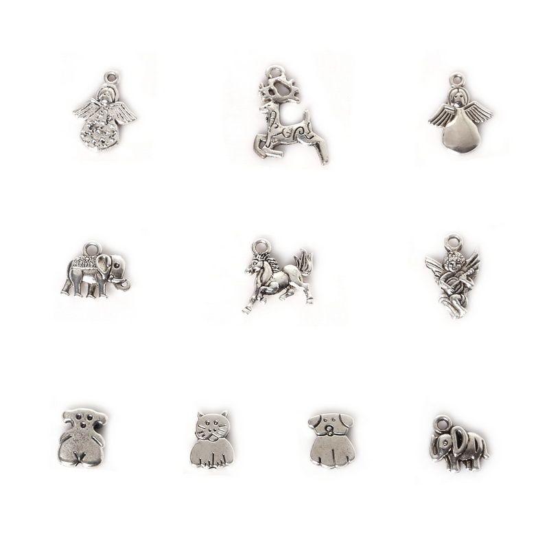 Ücretsiz kargo Yeni Toptan 123 adet Karışık Antik Gümüş Kaplama Çinko Alaşım Geyik Kedi Charms Kolye DIY Metal Takı Bulguları takı makin