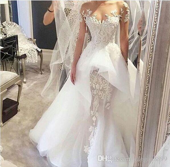 Steven Khalil 2019 Over Skirts Guaina a maniche lunghe abiti da sposa Incredibile pizzo dettaglio Dubai Arabo Sheer collo giardino abito da sposa Country