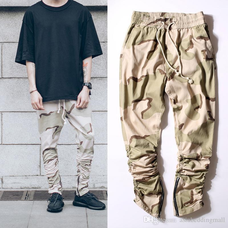 2019 Kanye West Desert Camouflage Men Jogging Pants Rubber Elastic