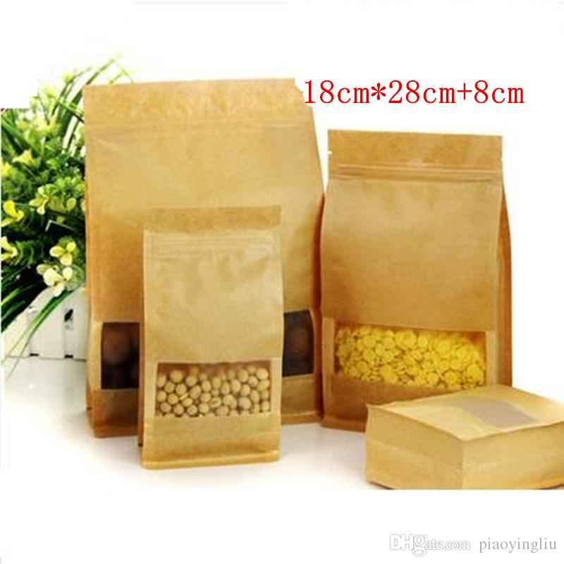 18cm*28cm+8cm Kraft paper bag frosted open window packaging bag eight edge-sealing leisure food packaging organ paper bag 50pcs