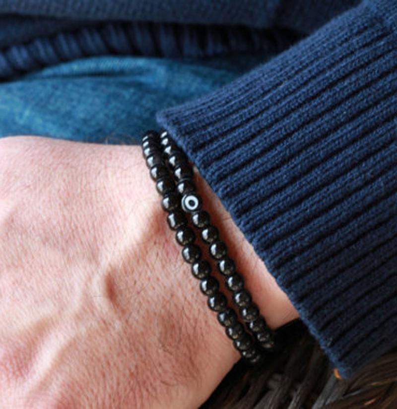 SN0047 6mm schwarz Obsidian Stein Armband Doppel Wrap Mens Armband Auge Stein Perlen Armband Amulett Männer Armbänder