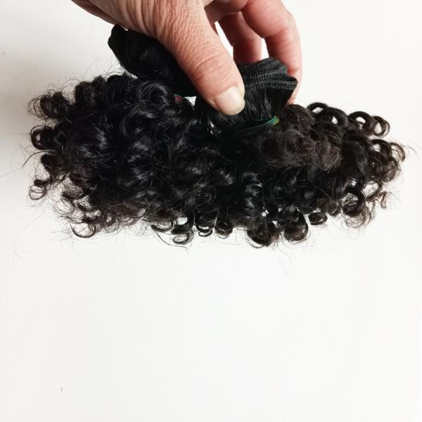 Brasilianische Jungfrau-Menschenhaar-Extensions 50g / pc reizvolle kurze Art 6inch 8inch verworrenes lockiges indisches remy Haar doppelter Einschlag 2pc / lot 100g / lot