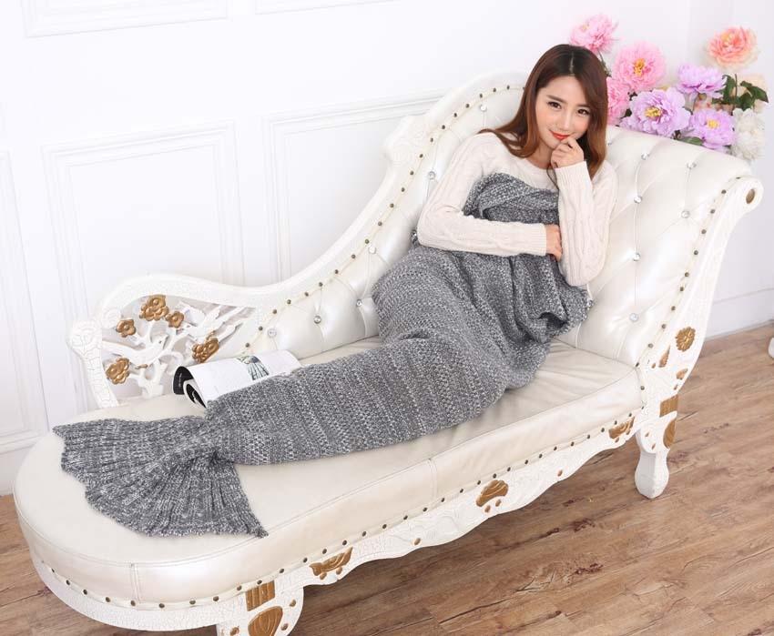 Yarn Knitted Mermaid Tail Blanket Handmade Crochet Mermaid Blanket Kids Throw Bed Wrap Super Soft Sleeping Bed X184 (18)