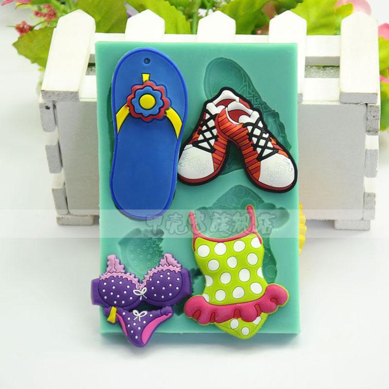 1 pcs Plage série pantoufles maillot de bain silicone moule argile moule pâtisserie fondant moule en relief moule un gateau pour enfant