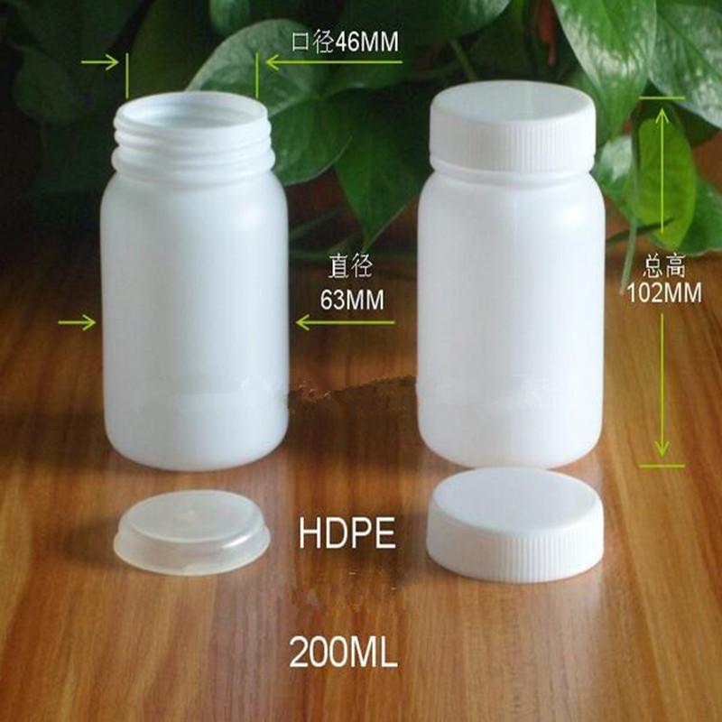 200g /10.2cm*6.3cm HDPE bouteilles d'emballage en plastique des bouteilles rondes de grande bouteille d'échantillon avec une résistance de capuchon intérieur à 500pcs acides et alcalins