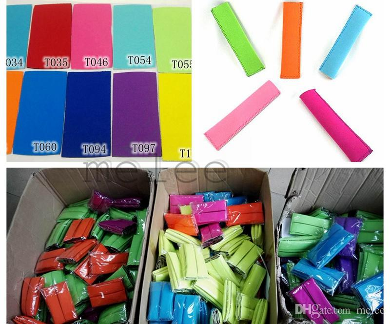 Hot Sale 2016 New Neoprene Popsicle Holders Ice Cream Tubs Party Drink Holders 15.5*4cm Ice Sleeves Freezer Ice Covers 12colors choose free