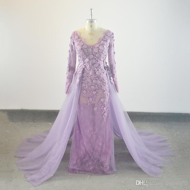 Nouvelle arrivée robe de soirée longue SOIRÉE détachable train robe manches longues robe de bal musulmane arabe