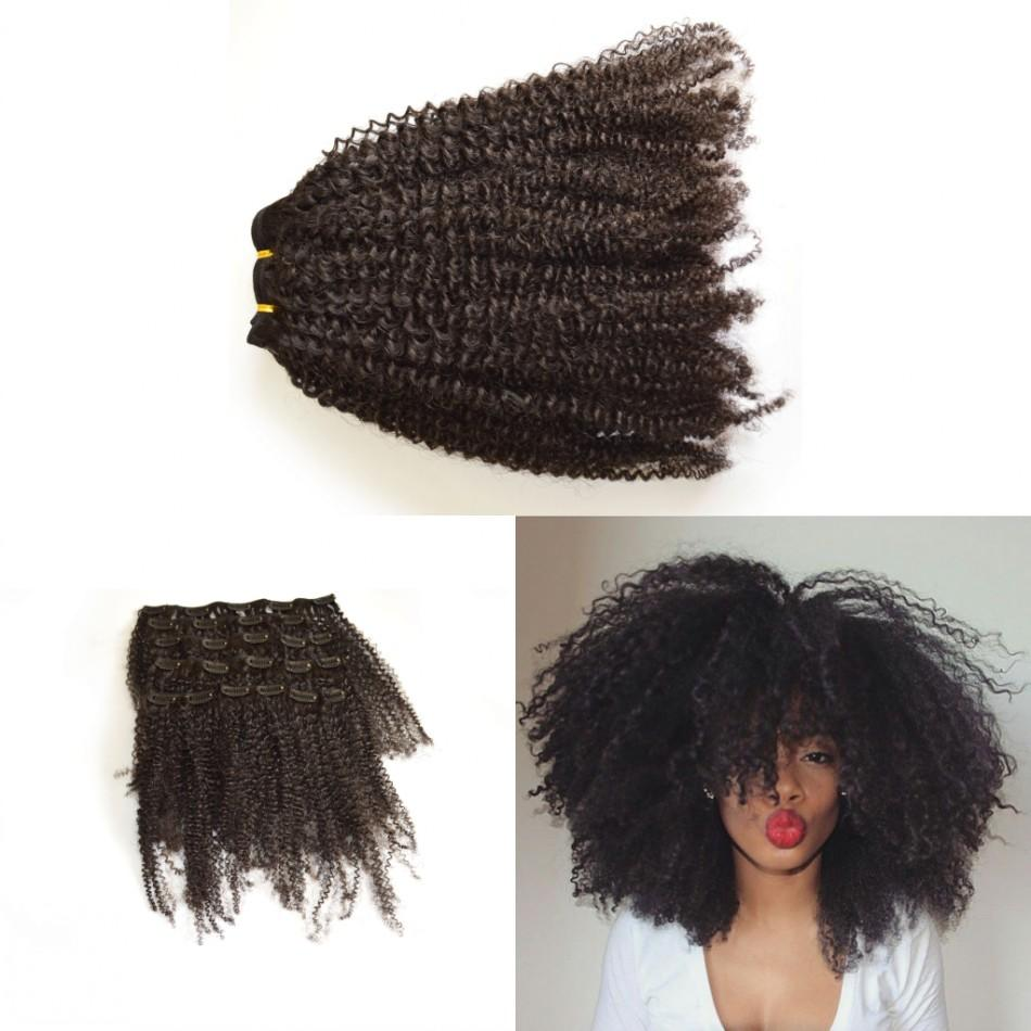 African American Clip In Hair Extensions Human 7 Pcs Unprocessed Virgin Indian Afro Kinky Curly Clip In Hair Extension 120G LaurieJ Hair