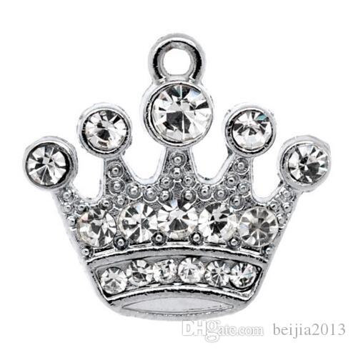 Free Shipping! 10 Silver Tone Rhinestone Crown Charm Pendants 21x20mm (B10355) wholesale jewelry findings making hot sale