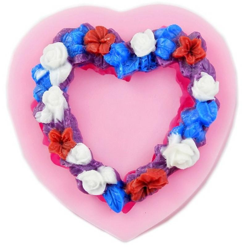 Heart Shaped Love Wreath silicone Fondant,Resin Clay Chocolate Candy Silicone Cake Mould,Fondant Cake Decorating Tools wholesaleTY1896