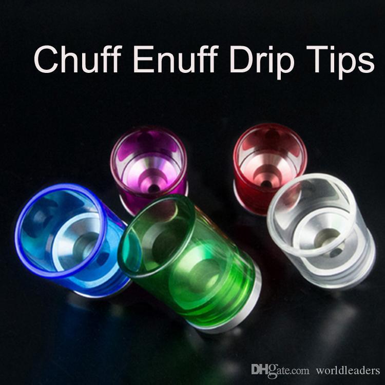 Universal Big Vape Colorful Clear Galss Chuff Enuff con foro largo Drip Tip 510 Thread Per Tobh Stillare Enigma V3 RDA RBA