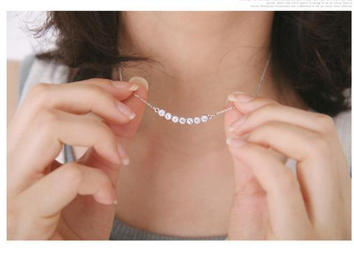 Classic Silver clavicle necklace with a row diamond pendant, with alloy material, very cheap but hign quality, free shipping