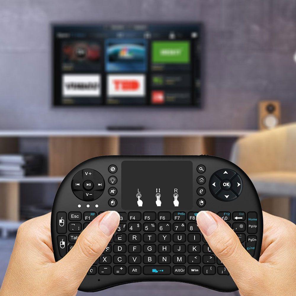 Venda Hot Fly Air Mouse para o Google TV Box MINI PC Toque Flying Squirrel A21 2.4G sem fio Qwerty Wifi teclado com Smart TV A21 RII I8