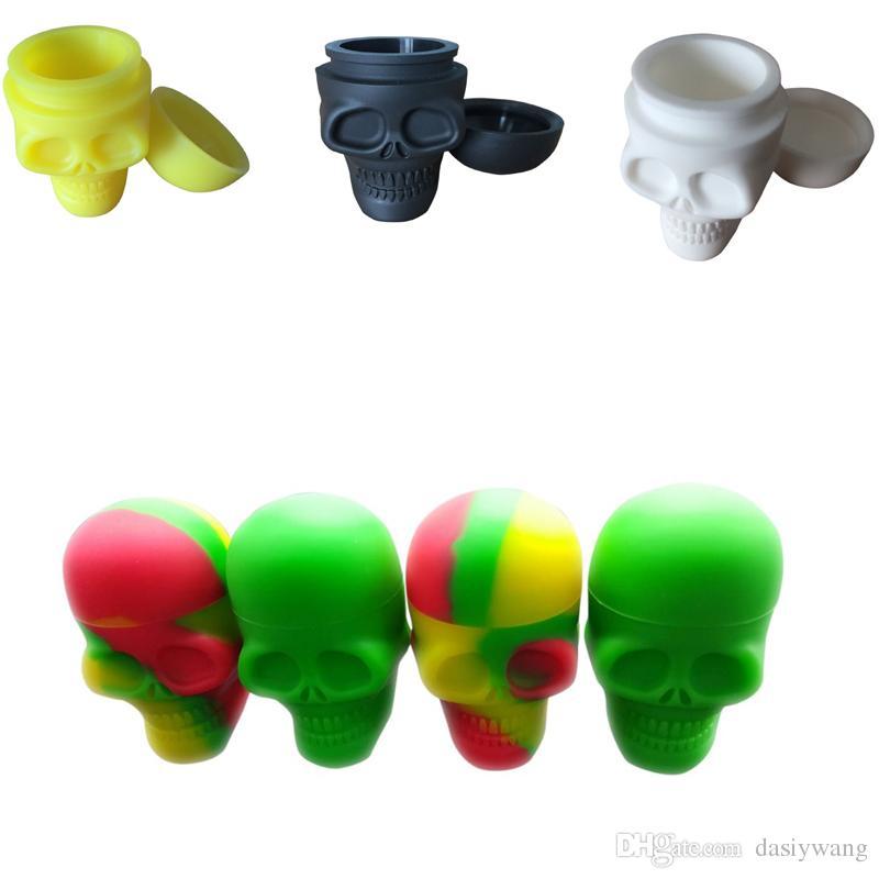 20 X vasetti in silicone grande Dab Wax Container Cranio forma olio Slicks Contenitore Bho Silicon Box Tub Jar Wax Novità