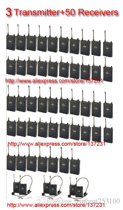 2016 Nowy Hot Taktar UHF-938 Heasdset MIC Wireless Tour Guide System 50M Zakres roboczy 3 Nadajnik 50Rerekerów do prowadzenia wycieczek
