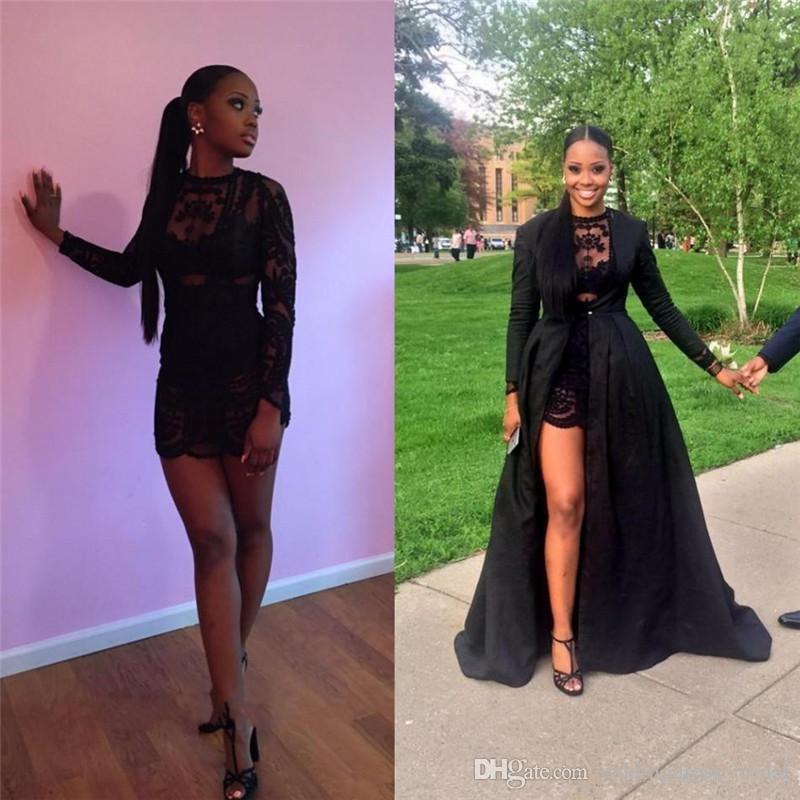 Sexy Black Lace Zwei Stücke Prom Kleider Long Sleeves Abnehmbarer Mantel Bodenlangen Abendkleider 2019 African Party Pageant Kleider Günstige