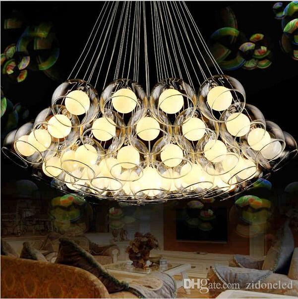 الفن الحديث زجاج الثريا ديي الزجاج الكرة قلادة ضوء الثابت g4 شنقا ضوء ل غرفة المعيشة بار مطعم ac85-265v