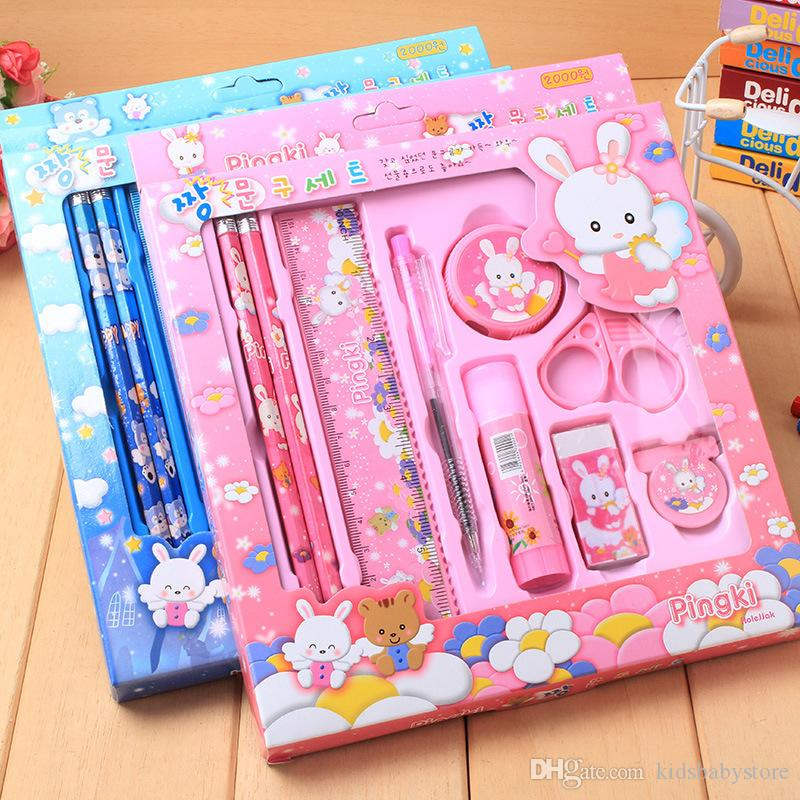 High quality Cartoon Student School Stationery Suppliers Set Pencils+Ball-point Pen+Pencil Sharpener+Scissors+Rubber+Glue+Ruler For Boy Girl
