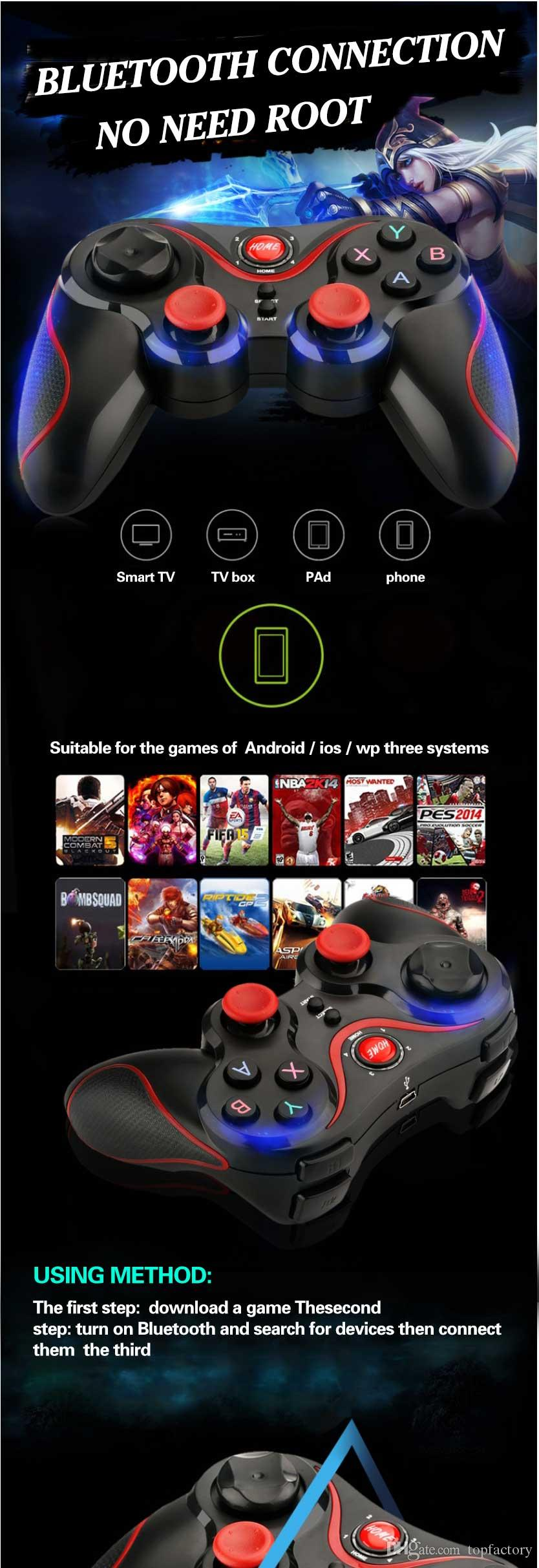 Terios Gamepad T3 Holder Android Bluetooth Smartphone Vr Box 525 Game Tv New Portable With Wireless Controller For