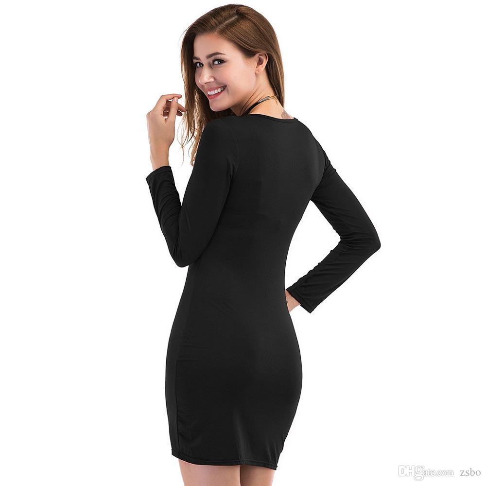 Robes pour filles sexy avec des robes sexy pour femmes et des robes à manches longues slim slim élastique Elégant Casual Casual robes moulantes du club