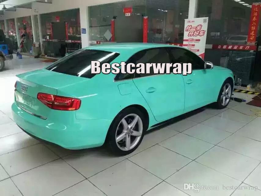 Involucro in vinile super lucido Tiffany Blue 3 strati Pellicola auto avvolgente in Menta lucida con aria Formato libero: 1.52 * 20M / rotolo