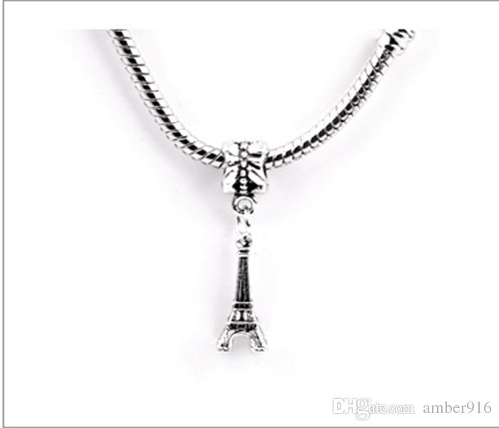 Free Shipping Silver Plated Bead Eiffel Tower Pendant Bead Fit Pandora Bracelets & Bangles