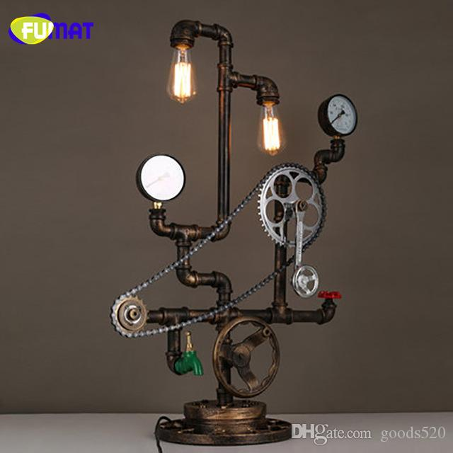 FUMAT Iron Loft Table Lamp Vintage Study Bar Water Pipe Desk Lamps with Axle Chain Decorative Light Designer Studio Table Lamps