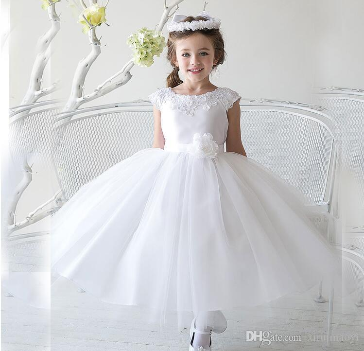 recognized brands first look 100% high quality 2016 Cheap Lace Flower Girl Dresses For Wedding White/Purple First  Communion Dresses For Girls 1 10 Years Toddlers Flower Girl Dresses White  Flower ...