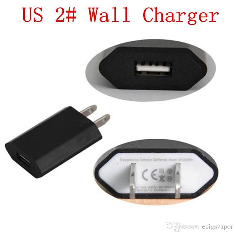 Electronic cigarette USB AC Power Wall Adapter Charger EU US for ego evod ugo TVR 30 eGonow vape mods battery ecigarettes ecigs ECig