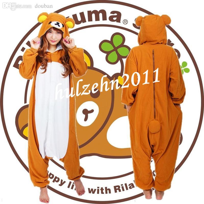 Toptan-YENI Rilakkuma Pijama Anime Cosplay Kostüm Unisex Yetişkin Onesie Pijama
