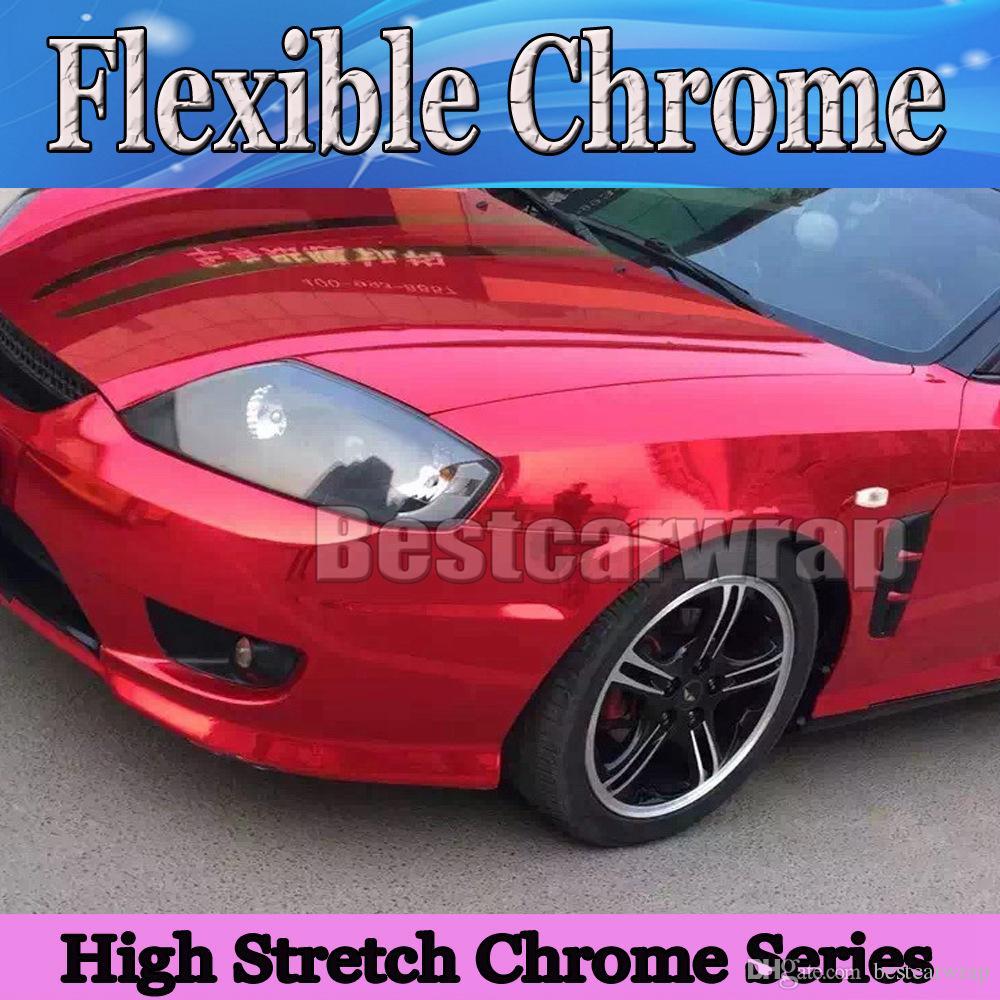 Premium Chrome czerwony błyszczący winylowy winyl z uwalnianiem powietrza. Wysokowy rozciągliwy Red Chrome Lustro Folia Wrap 3,52x20m / Roll (5x66ft)