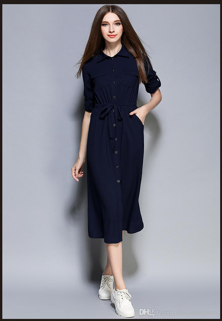 2016 New Autumn Maxi Women Dress Ladies Blue Knee Length Elegant Casual  Shirt Dresses White And Blue Dresses For Womens Party Gown Dress From