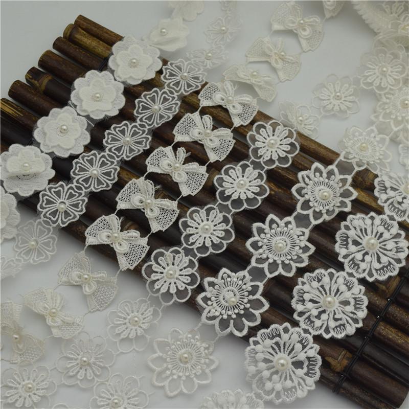 creme 14.5yards brancas Layers frisada Pérolas Pedrinhas Flower Glitter TulleLace fita Applique guarnição Venise costura em embarcações