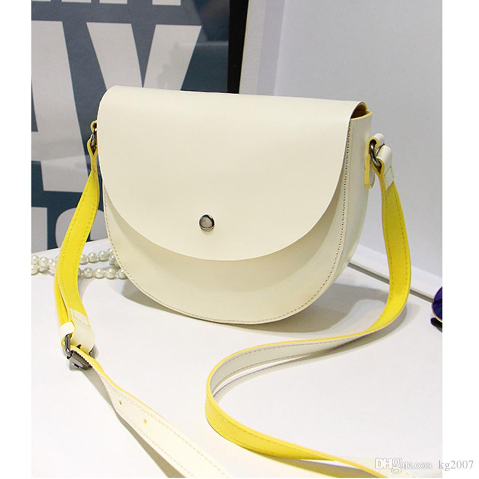 High quality seven candy color lady and fashion women girls messenger bags cross body school bag Saddle PU Leather