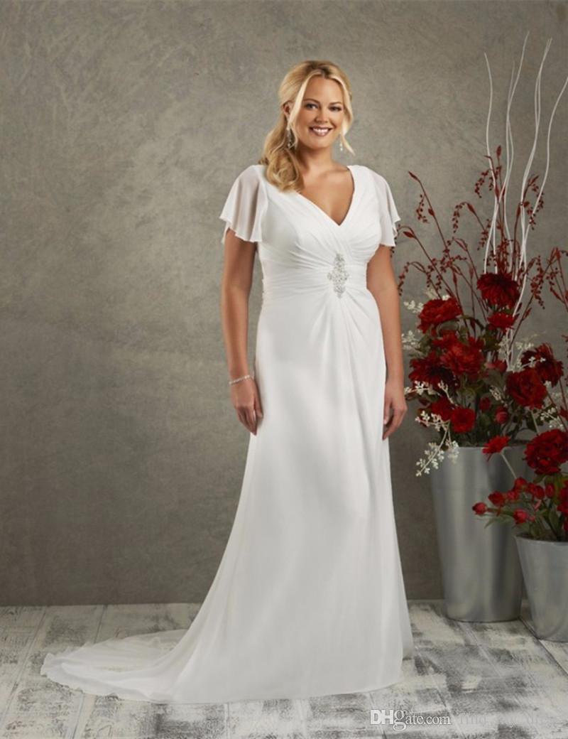 Элегантный стиль длинные пляжные свадебные платья с коротким рукавом V шеи с бисером плиссированные шифоновые летние свадебные платья на заказ