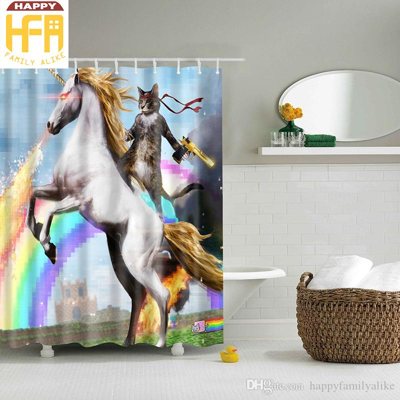 Bath Curtain Cat Riding Unicorn Horse Creative Bathroom Decor Polyester  Shower Curtains Mildew Proof Digital Printing ...