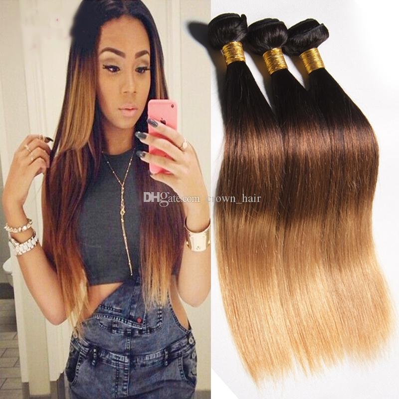Miel Blonde # 1B / 4/27 Extensions de Cheveux Droite Ombre Tissage de Cheveux Humains 3Pcs / Lot Brésilienne Droite 3 Tons Cheveux Tisse