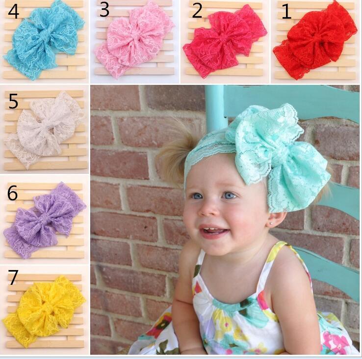 nueva del bebé del cordón del arco grande vendas niñas linda 7 colores banda para el cabello encantadora infantil Turbante niños Bowknot elástico Accesorios BY0000