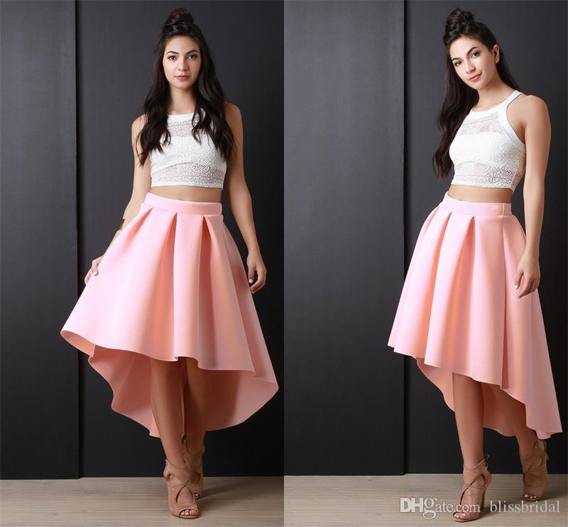 Pink Color Sexy Taffeta Girls Skirts Hi-lo New Arrival Skirts for Girls Custom Made Gogerous Pleats Empire Skirts