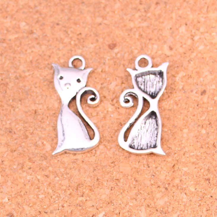 115 unids Plateado Plata Antigua colgantes de los encantos del gato para la fabricación europea de la joyería de la pulsera DIY hecho a mano 25 * 12mm