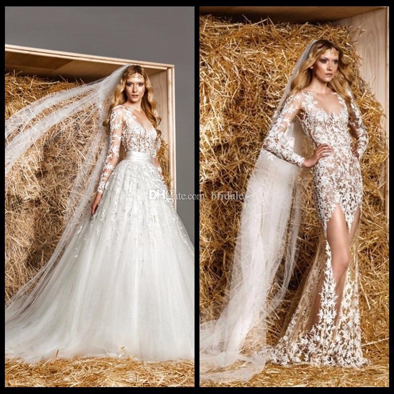 2016 Zuhair Murad Vintage Modest Sheer Brautkleid Sheer Neck Mit Spitze Applique Long Sleeve Brautkleider Mit Abnehmbarem Zug