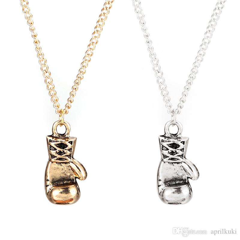 2016 Newest Gold/Silver Color Fashion Lovely Mini Boxing Gloves Necklaces Boxing Match Jewelry Cool Pendant For Men Boys Olympic Sport
