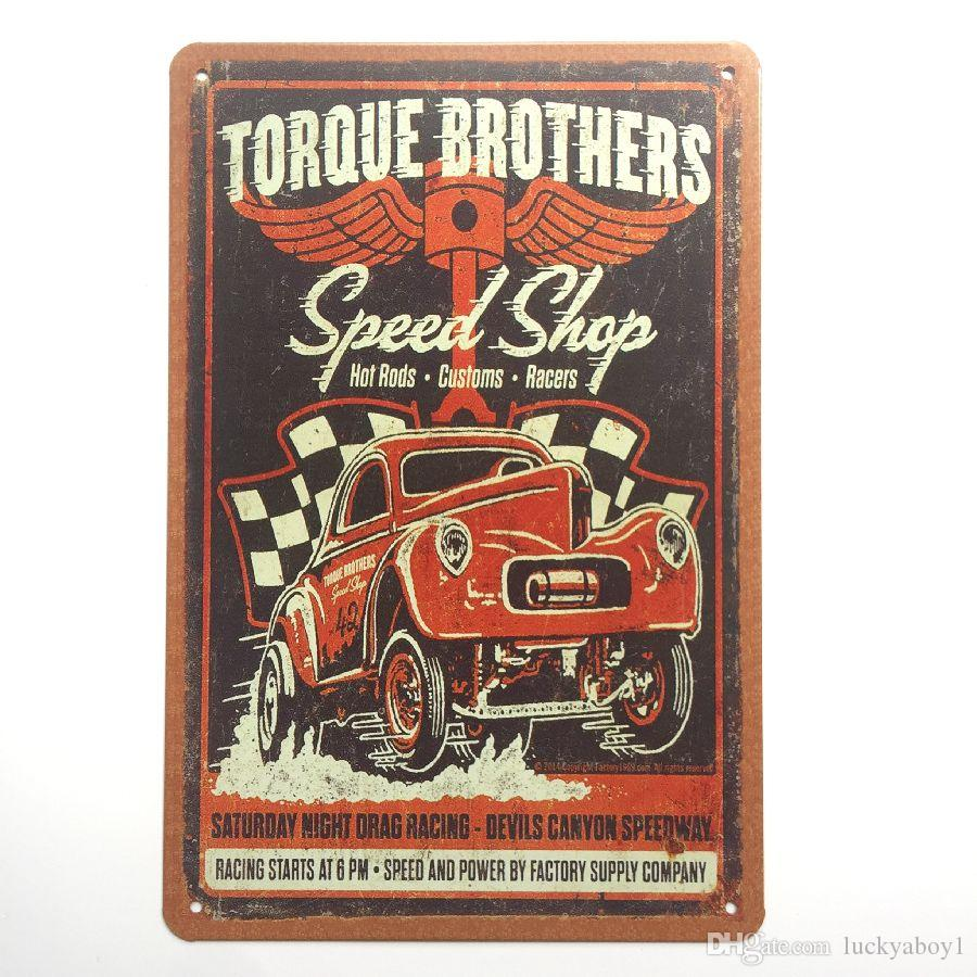 Speed Shop Hot Rods Customs Racers Retro Vintage Metal Tin sign poster for Man Cave Garage shabby chic wall sticker Cafe Bar home decor