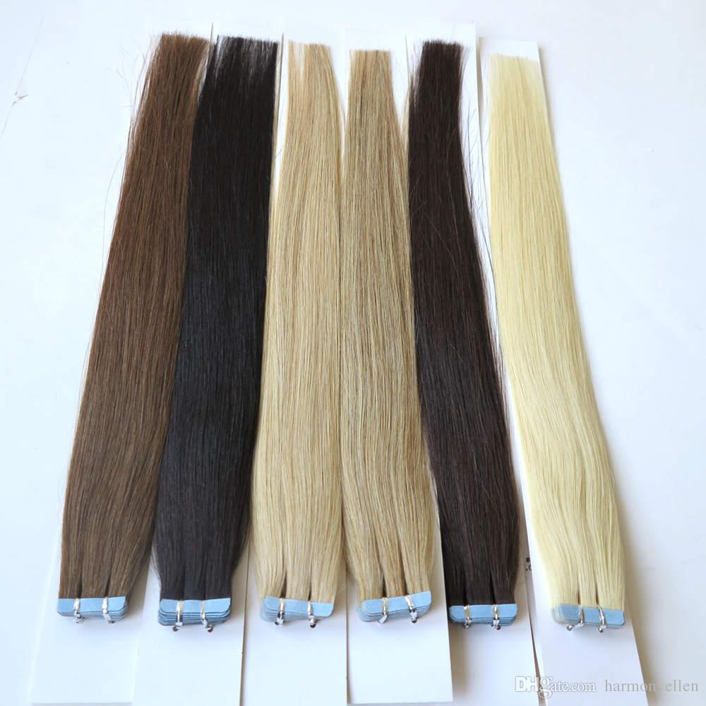 """20"""" Tape In Human Hair Extensions 40pcs/lot Double Wefted Tape Hair Extensions 100g/lot 9 Colors Available"""