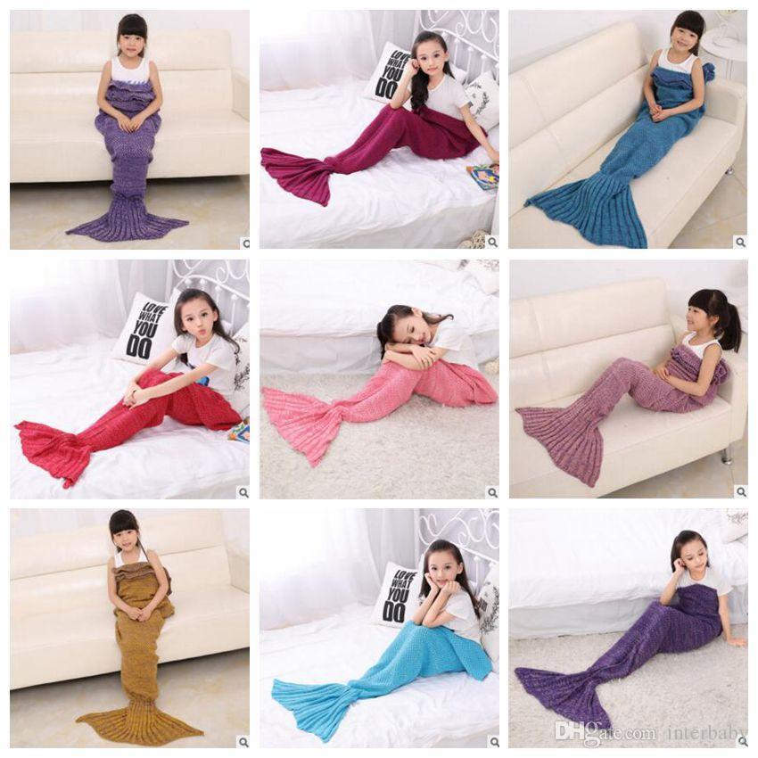 Meerjungfrau stricken Decken Kinder Meerjungfrau Schwanz häkeln Decken Baby Siesta Cocoon Matratze Shark Fisch Schlafsäcke Kinder Sofa Air Decken 3066