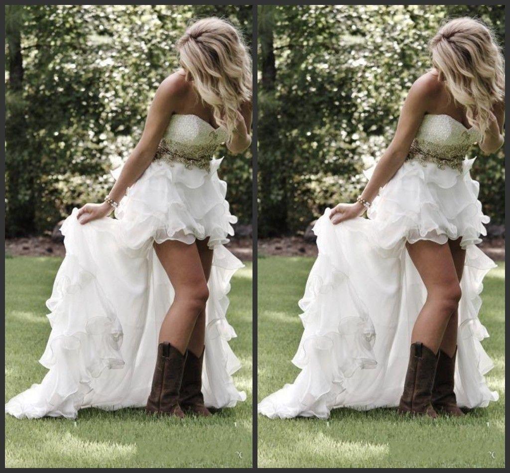 2020 새로운 연인 프릴이 오간자 비대칭 장착 하이 - 보라 화이트 신부 신부 가운 겸손한 높은 저지대 스타일 웨딩 드레스 022