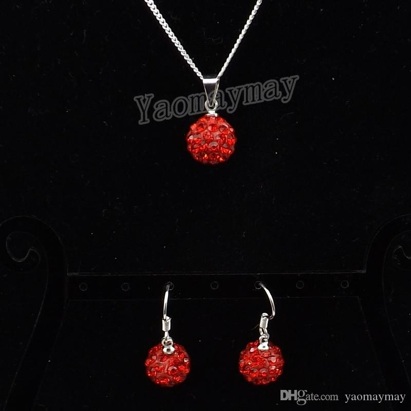 Women's Crystal Jewellery Set Red Disco Ball Pendant Earrings And Necklace Valentine's Day Gift 10 Sets Wholesale