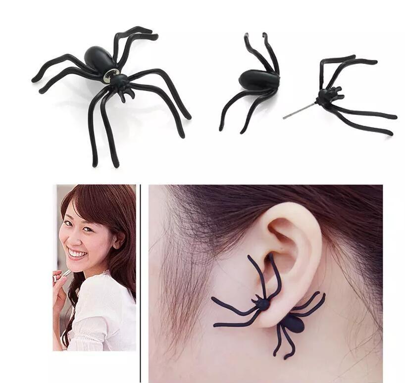 Gorąca Sprzedaż Halloween Czarny Stereoskopowy Pająk Urok Ear Stud Piercing Kolczyki Dla Kobiet Dziewczyny Steampunk Biżuteria Prezenty