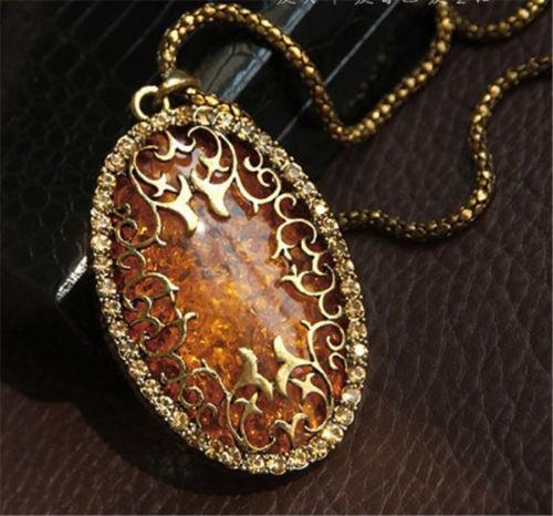 Vintage femmes ambre creuser strass ovale longue chaîne pendentif collier bijoux rétro longue chaîne pendentif colliers accessoires gratuit DHL