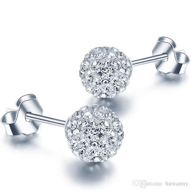 Silver Stud Earrings Jewelry Hot Sale Austrian Shamballa Ball Earrings for Wedding Party 4 size Wholesale Free Shipping 0005WH